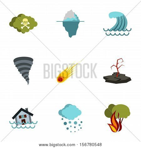Natural emergency icons set. Flat illustration of 9 natural emergency vector icons for web