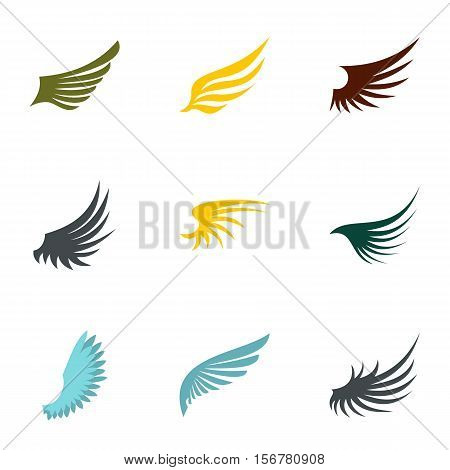 Types of wings icons set. Flat illustration of 9 types of wings vector icons for web
