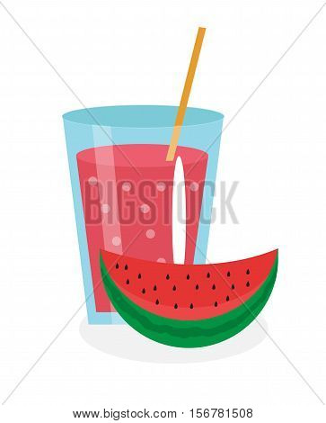 Watermelon juice in a glass. Fresh watermelon juice isolated on a white background. Fresh fruit and juice icon. Watermelon drink, fruit compote. Watermelon cocktail smoothie. Vector illustration