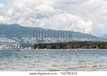 Stanley Park View From Kitsilano Beach In Vancouver, Canada