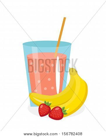 Banana-strawberry juice in a glass. Fresh. Banana and strawberry juice isolated on white background. Fresh fruit and juice icon. Banana-strawberry shake, smoothie. Vector illustration