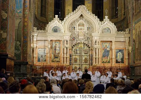 ST. PETERSBURG, RUSSIA - OCTOBER 19, 2016: Concert of boys' choir Little Singers Of Paris in the Church of the Savior on Spilled Blood. Founded in 1906, the choir has toured inside and outside France
