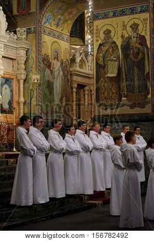 ST. PETERSBURG, RUSSIA - OCTOBER 19, 2016: Concert of boys' choir Little Singers Of Paris in the Church of the Savior on Spilled Blood. The choir was founded in 1906