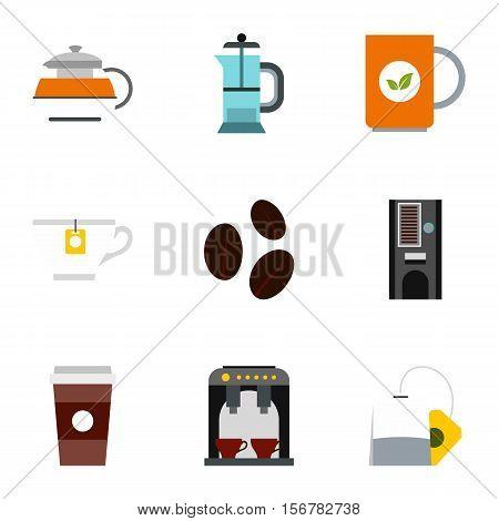 Beverage icons set. Flat illustration of 9 beverage vector icons for web