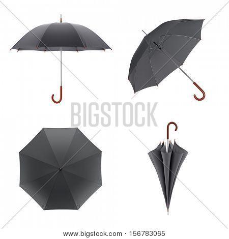 Dark umbrella isolated on white background. 3D illustration