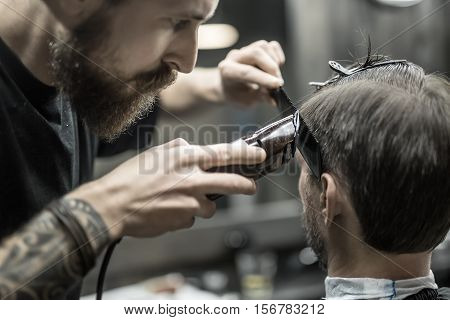 Unparalleled barber with a beard and a tattoo is cutting the hair of his client in the barbershop. He is using a cutting comb and a hair clipper. Hairdresser dressed in a black T-shirt. Closeup.