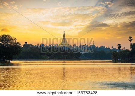 Shwedagon Pagoda at sunset with nice sky, Yangon Myanmar