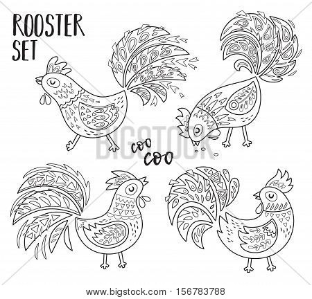 Oriental Happy Chinese New Year 2017. Outline set of Rooster. Vector illustration for holiday design. 2017 New year symbol. Traditional cock. Coloring book page