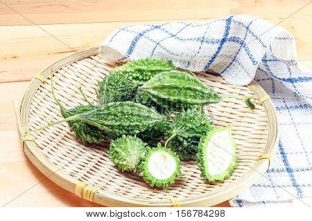 Small bitter gourd melon karela green vegetable