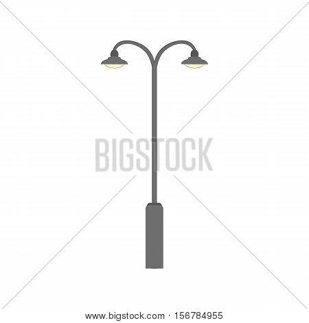 Street light object silhouette. Flat road metal lamp symbol icon. Vintage electricity urban lantern light, exterior old lamp Vector illustration