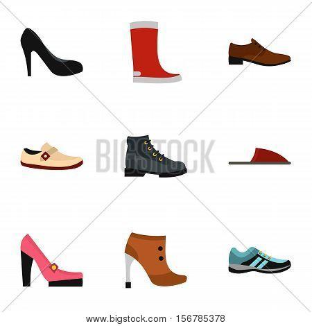 Footgear icons set. Flat illustration of 9 footgear vector icons for web