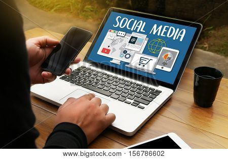 Social Media Connection  Communication Global People Using Mobile Tablet Pc And Smartphone For Sendi