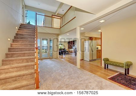 Hallway Interior With Staircase Leading Upstairs