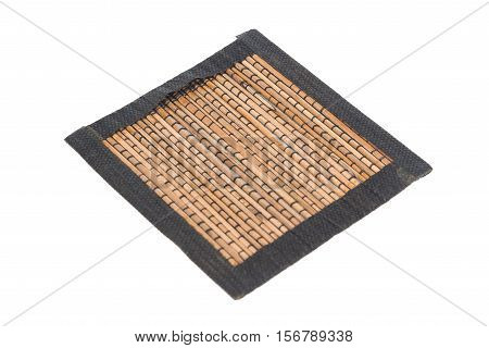 Brown Bamboo Straw Mat For Background And Texture, Isolated On White Background
