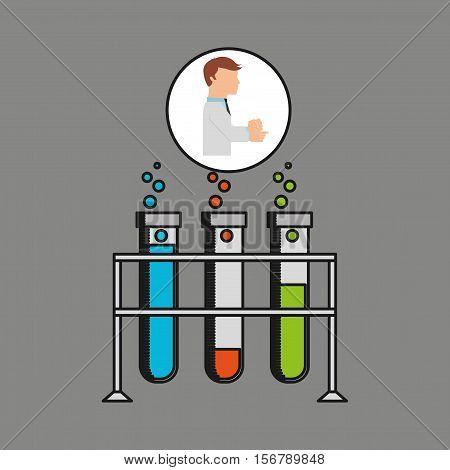 scientist worker research test tube on rack design vector illustration eps 10