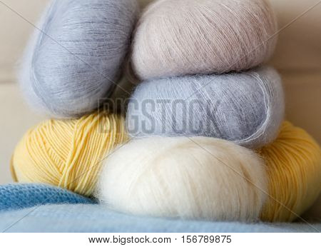 A Few Skeins Of Fine Wool For Knitting Not Bright Colors