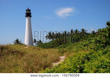 Cape Florida Lighthouse at the Bill Baggs State Park near Miami, FL
