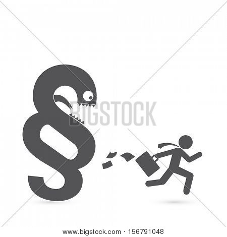 Justice metaphors - Business man flee before the law. poster