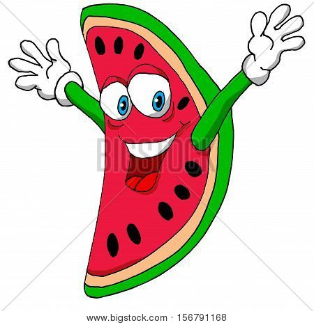 A Vector Illustration of a Happy Watermelon
