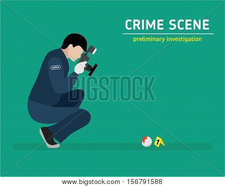 Murder investigation. Police photographed the evidence. Flat illustration