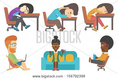 Tired employee sleeping at workplace. Man sleeping in office. Exhausted businessman sleeping at the desk. Manager sleeping at work. Set of vector flat design illustrations isolated on white background
