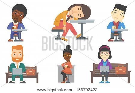 Businessman working outdoor. Happy businessman working on a laptop. Businessman in suit sitting on a bench and working on laptop. Set of vector flat design illustrations isolated on white background.
