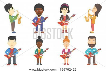 Young musician playing electric guitar. Guitarist practicing in playing electric guitar. Saxophonist performing with saxophone. Set of vector flat design illustrations isolated on white background.