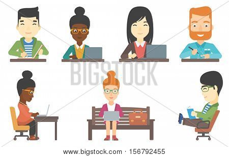Man making a model with a 3D pen. Engineer using a three dimensional pen to model a geometric shape. Engineer working with 3D pen. Set of vector flat design illustrations isolated on white background.