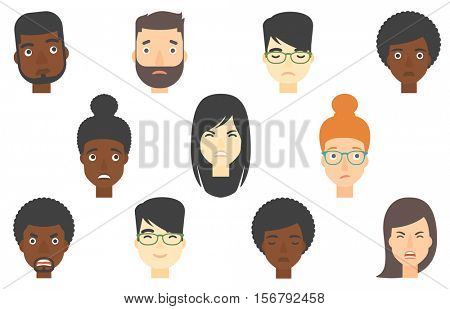 Set of people of various ethnicity expressing diverse emotions. Embarrassed man looking to the side. Woman feels embarrassed. Set of vector flat design illustrations isolated on white background.