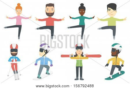 Professional figure skater performing. Young ice skater dancing. Figure skater posing on skates. Young skier skiing downhill. Set of vector flat design illustrations isolated on white background.