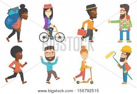 Tourist with backpack hitchhiking. Hitchhiking man trying to stop a car on a highway. Young hitchhiking man catching a car. Set of vector flat design illustrations isolated on white background.
