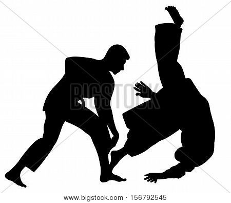 Silhouette of Aikido masters leading the fight in training - vector