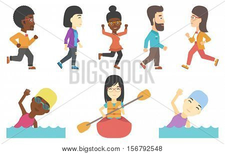 People in swimming cap and glasses swimming in pool. Young woman swimming. Successful business woman and business man walking. Set of vector flat design illustrations isolated on white background.