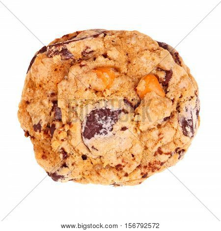 Single freshly baked homemade chocolate and butterscotch chip oatmeal cookie isolated against a white background