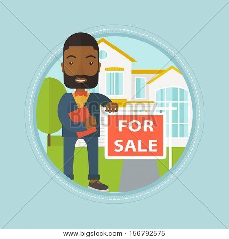 Real estate agent offering the house. An african real estate agent with placard for sale and documents standing in front of house. Vector flat design illustration in the circle isolated on background.