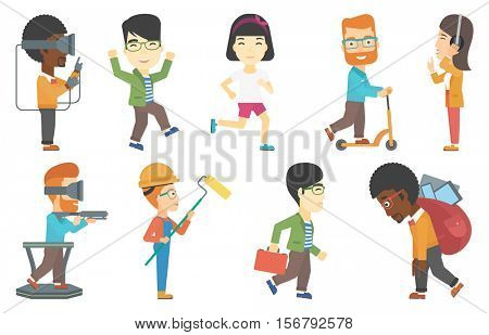 Young businessman riding a kick scooter. Businessman with briefcase riding to work on kick scooter. Businessman on a kick scooter. Set of vector flat design illustrations isolated on white background.