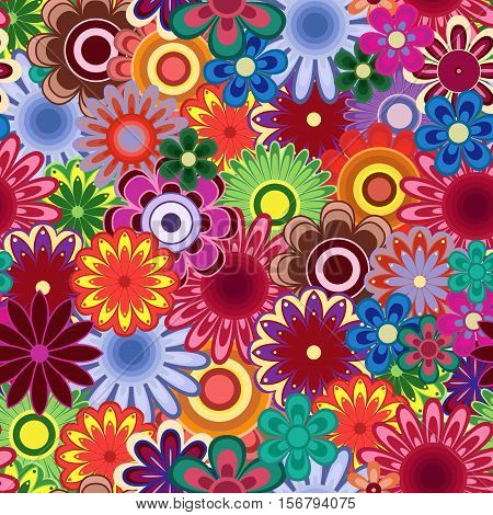 Seamless vector pattern with many bright colourful flowers