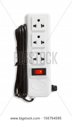 Electric plugs and a socket isolated on white background