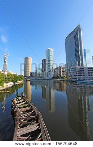 Partial Tampa Florida skyline with Riverwalk Park and commercial buildings vertical