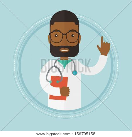 An african-american doctor showing finger up. Doctor with stethoscope and file. Doctor in medical gown pointing finger up. Vector flat design illustration in the circle isolated on background.
