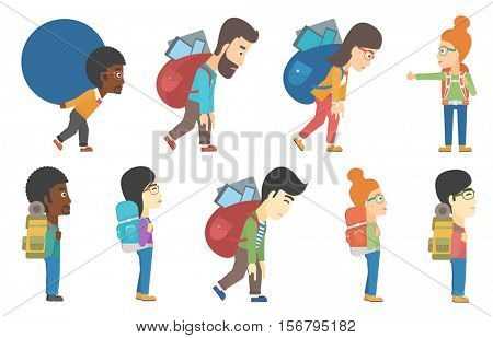 Tourist travels hitchhiking. Tourist standing with backpack. Tourist enjoying his recreation time. Happy tourist during trip. Set of vector flat design illustrations isolated on white background.