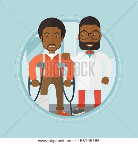 An african-american man with broken leg standing on crutches in hospital. An injured man with broken leg on reception at doctor. Vector flat design illustration in the circle isolated on background.