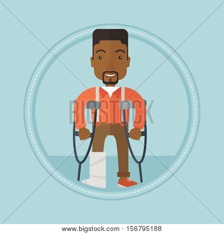 An injured african-american man with leg in plaster standing on crutches. Young man with broken leg in bandages using crutches. Vector flat design illustration in the circle isolated on background.