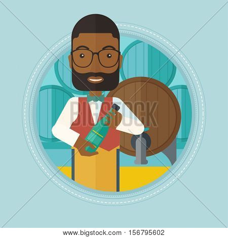 An african-american waiter standing in wine cellar. Happy waiter with bottle in hands standing on the background of wine barrels. Vector flat design illustration in the circle isolated on background.