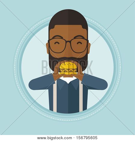 An african-american man eating hamburger. Happy man with eyes closed biting hamburger. Man is about to eat delicious hamburger. Vector flat design illustration in the circle isolated on background.