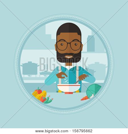 An african man cooking vegetable salad at home. Man adding salt or spices in fresh healthy salad. Man preparing vegetable salad. Vector flat design illustration in the circle isolated on background.