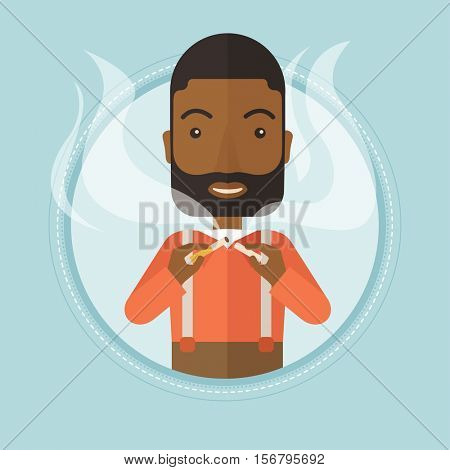 An african-american young man breaking the cigarette. Man crushing cigarette. Man holding broken cigarette. Quit smoking concept. Vector flat design illustration in the circle isolated on background.