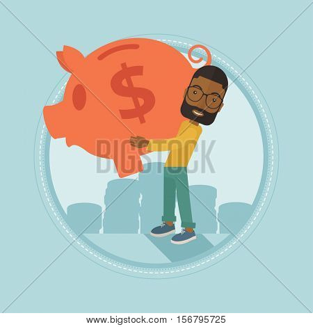 An african-american businessman holding a big piggy bank on the background of coins. Businessman saving money in a piggy bank. Vector flat design illustration in the circle isolated on background.