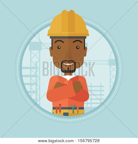 African-american builder in helmet with arms crossed. Confident builder in hard hat standing the background of construction site. Vector flat design illustration in the circle isolated on background.