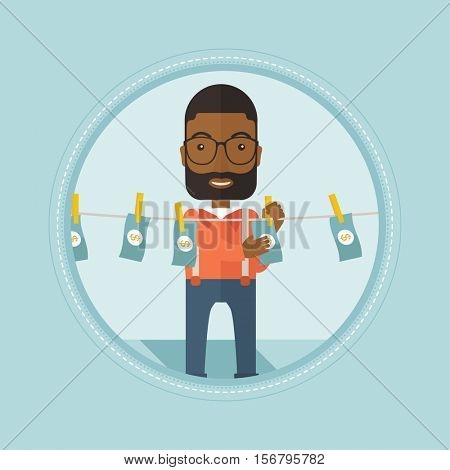 An african-american businessman drying dollar bills on clothesline. Businessman laundering money. Concept of money laundering. Vector flat design illustration in the circle isolated on background.